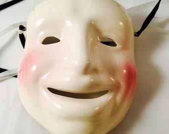 "Mardi Gras Porcelain Mask, White Comedy, Cast of Millions, hand painted, Vintage, 8"""