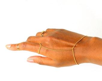 The Gold Line Ring Bracelet, bracelet bague, simple gold hand chain, gold slave bracelet, ring chain, bague chaine, gold clave chain, gift