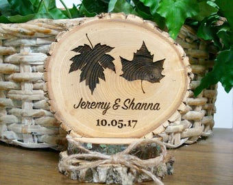 Rustic Wedding Cake Topper, Autumn Cake Topper, Fall Leaves Cake Topper, Wood Cake Topper, Personalized Cake Topper, Guest Book Sign