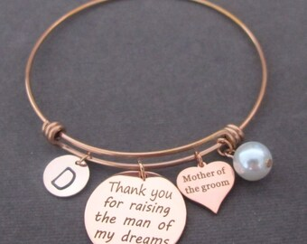 Rose Gold Bracelet Rose Gold Mother of The Groom Thank You For Raising the Man of My Dreams, Gift, Mother In Law Bangle, Free Shipping USA