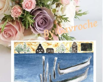 Venice, card and envelope;  print card, reproduction, postcard, wall decor, birthday stationery, decor, stationery