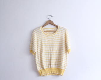 Butter Yellow Striped 70s Summer Sweater