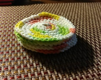 Hand made crocheted coasters available in a variety of colors