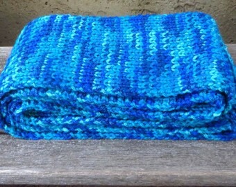 Blue Knit Scarf, Variegated Blue Scarf, Womens Scarf, Long Blue Knitted Scarf, 89 inches