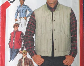 Men's Quilted Vest and Shirt Size 40 Vintage Sewing Pattern - Simplicity 5350 Neck 15.5 In
