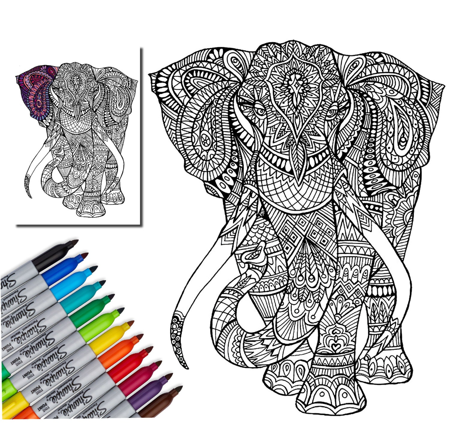 Elephant Wall Decal, Creative Coloring, Color My Wall, Adult ...