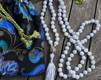 Mala Beads: 8mm blue lace agate, moonstone & sterling silver. 108 hand-knotted beads - yoga japa meditation or tassel necklace. Handmade bag