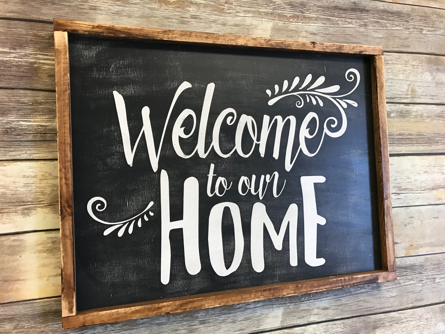 Welcome to our home wood sign welcome sign home decor sign