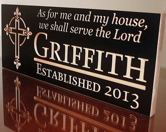 Personalized Family Name Sign, Custom Wedding Gift, As for me and my house we will serve the Lord, Joshua 24:15, carved wood sign Maple SL
