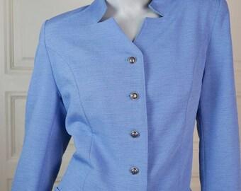 Austrian Vintage Light Blue Blazer Women's, Custom-Tailored Sky Blue Jacket, 1980s Ladies' Smart Blazer, Professional: Size 10 US, 14 UK