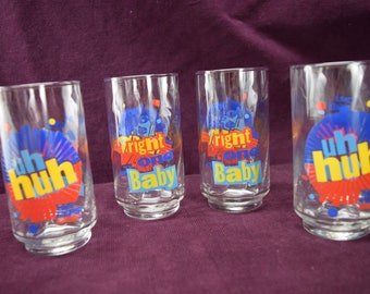 Set of 4 vintage diet Pepsi glasses, You got the right one baby, uh huh
