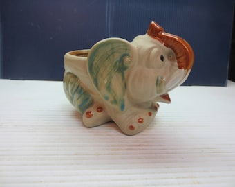 Vintage Pottery Elephant Planter Clay Partly Glazed