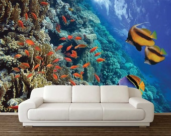 Underwater Wall Decal, Wall Mural Underwater, Wallpaper Underwater, Self Adhesive Vinyl