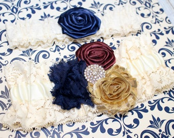 Navy and Burgundy Garter / Ivory Lace Garter / Navy, Gold and Burgundy Wedding / Navy and Ivory garter / Wedding Garter / Bridal Garter