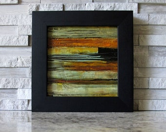 "FRAMED Original Oil Painting FREE SHIPPING Original Oil Painting Abstract Expressionism Art 4"" x 4"" inch Square Colette Davis Jam Session"