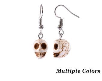 Magnesite Stone Skull Earrings