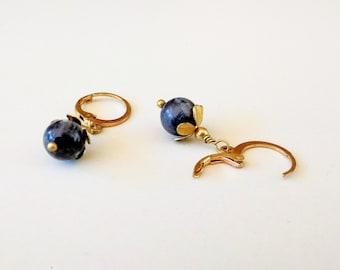 Raw Brass and Dark Grey/Blue Labradorite or Larvikite Dangle Round Leverback Earring