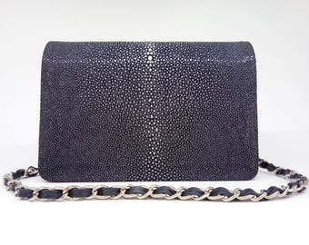navy blue leather cross body bag,navy blue stingray handbag, shagreen leather purse, cross body bag, navy blue leather bag, long strap