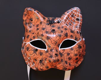 Cat mask with spiders and webs