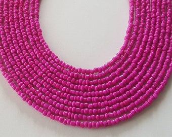 Hot pink seed bead necklace - pink seed bead necklace - hot pink necklace - pink necklace - seed bead necklace