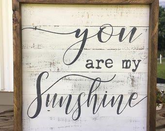 you are my sunshine, nursery wall decor, farmhouse wall decor, shiplap inspired sign, framed wood sign, reclaimed wood sign, farmhouse sign