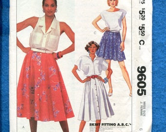 1980's McCalls 9605 Flared Front Button Skirt Pattern Size 6 UNCUT