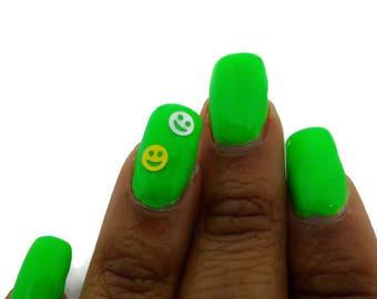 Be Happy - Smiley face emoji nail polish - yellow or white