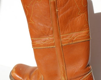 Vintage Cowboy Boots Square Toe Leather Campus Boot Style Womens Size 8 Texas Longhorns