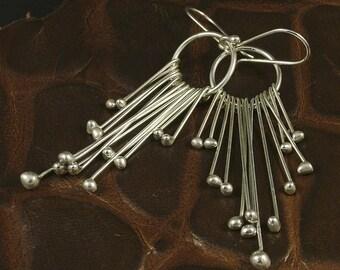 Silver Chandelier Earrings - Argentium Dangle Earrings - MetalRocks Handmade Sterling Dangles - Long Silver Earrings - Womens Ladies Gift
