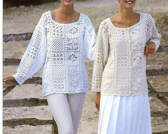 CROCHET PATTERNS - Womens Tunics Sweaters Jacket Cardigan Tops Beach  - One Size fits all