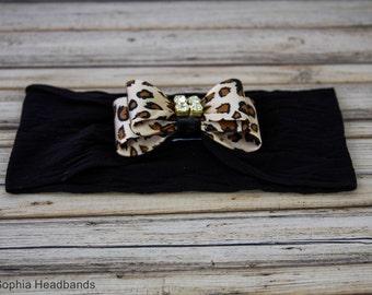 Leopard Headband, Leopard Baby Headband, Newborn Headband, Girl Headband, Photo Prop, Leopard Bow Headband, Animal Print Headband, 865