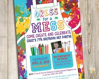 Art Studio / Painting Birthday Party Invitation DIY Printable Download