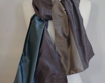 Scarf in shades of gray and green shantung