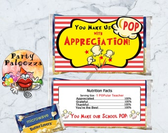 Printable Teacher Appreciation Popcorn Wrapper