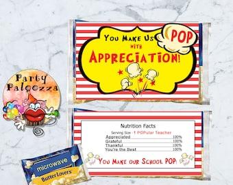 Printable Teacher Appreciation Popcorn Wrapper