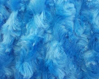 Minky Rosebud Cuddle Fabric By The Yard - Royal (W1)