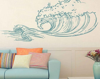 Wave Wall Decals Ocean Wave Wall Decals Ocean Beach Waves Wall Stickers  Ocean Wall Decals Sea