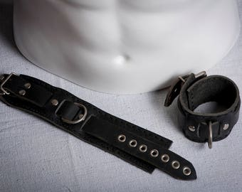 """Leather with Threaded Wrist Restraints - 1.5"""" Wide with 1"""" Buckling Strap and Single D-Ring Threaded"""