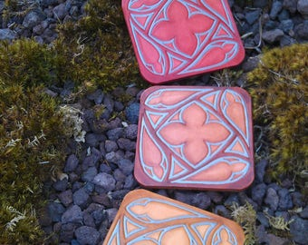 4 stained glass multicolor leather coasters made in france