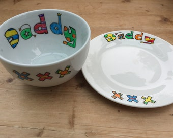 Hand painted personalised daddy, dad Father's Day bowl and side plate