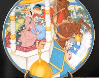 Villeroy & Boch assiette décorative Fairyland amoureux Ivan et le châtaignier de cheval en porcelaine colorée Heinrich Bright 1982 6598 / B