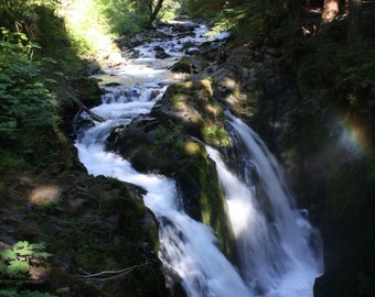 Waterfall photograph or canvas print, 5x7, 8x10, 11x14, 16x20, Sol Duc Falls, Olympic National Park, WA