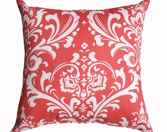 Coral Pillow Cover - Coral Damask Decorative Throw Pillow - Ozborne Coral Couch Pillow - Coral Zippered Accent Pillow - Coral Pillow Case
