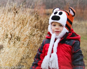 MADE TO ORDER, Crochet Hobbes hat, tiger/ cat hat, Newborn to Lg. Adult sizes, comic strip, comic cat