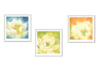 Set Of 3 Prints, Watercolor Print, Flower Painting, Art Print, Wall Art Print