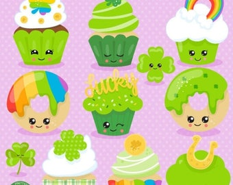 80% OFF SALE St-Paddy's cupcakes clipart commercial use,  vector graphics,  digital clip art, digital images  - CL1064
