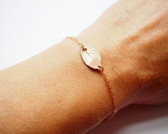 Leaf Bracelet, Rose Gold Leaf Bracelet,