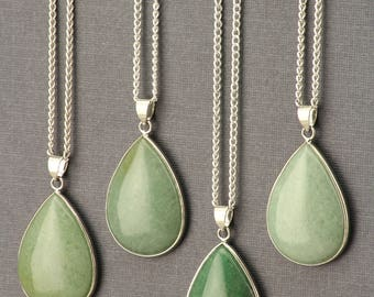 Aventurine Necklace. Green Aventurine Necklace. Teardrop Necklace. Silver Teardrop Pendant. Green Gemstone. Bohemian Green Stone Jewelry.