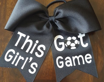 Personalized soccer cheer bow