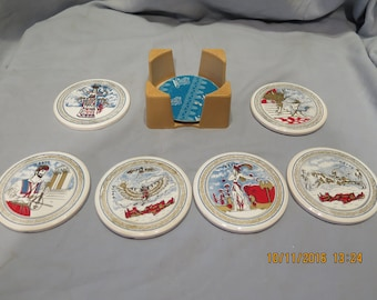 Greece Mediterranean Ceramic Coaster Set Kreta